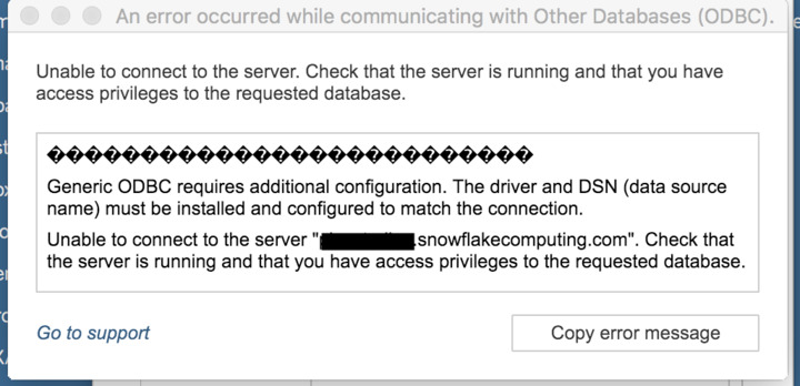 Unable to connect to Snowflake from Tableau via ODBC - OSX